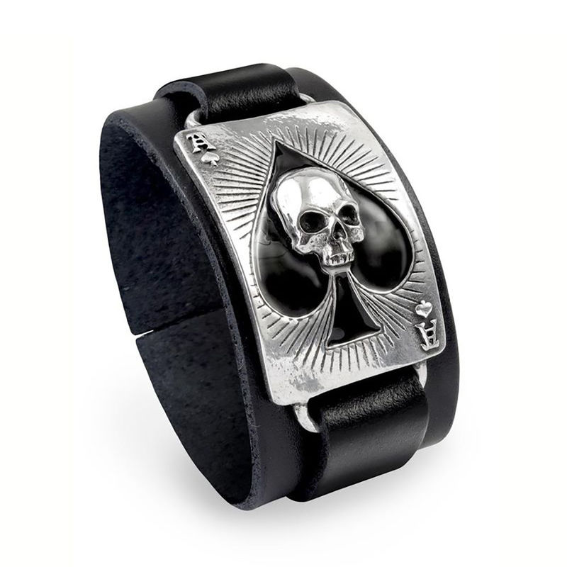 Alchemy Gothic Ace Of Dead Spades - Leather bracelet